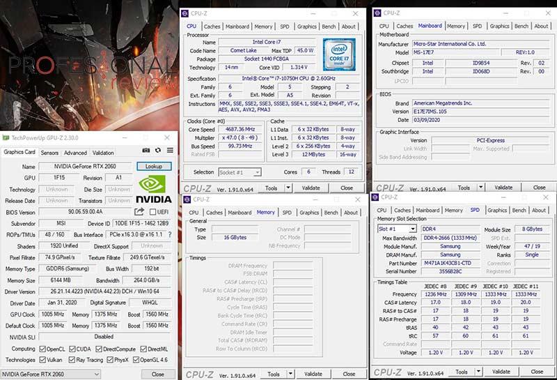 MSI GP75 Leopard 10SEK CPU-Z