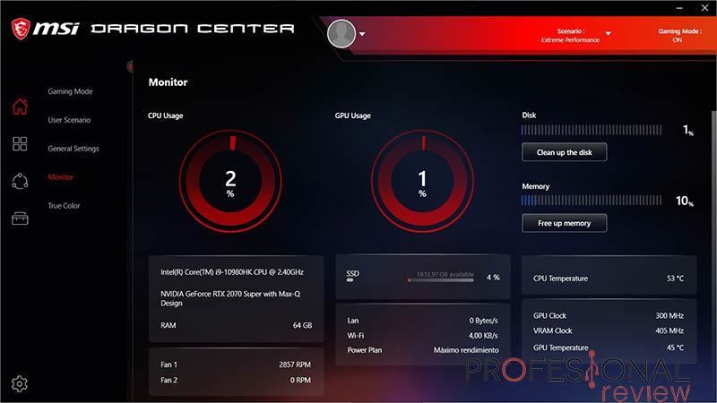 MSI GS66 Stealth 10SFS Software