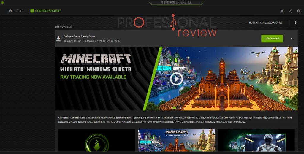 Nvidia geforce experience actualizar controlador