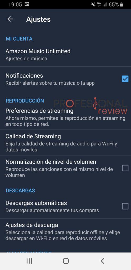 Opciones Amazon Music