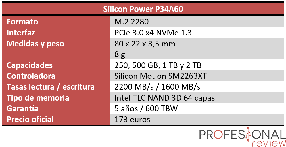 Silicon Power P34A60 Características