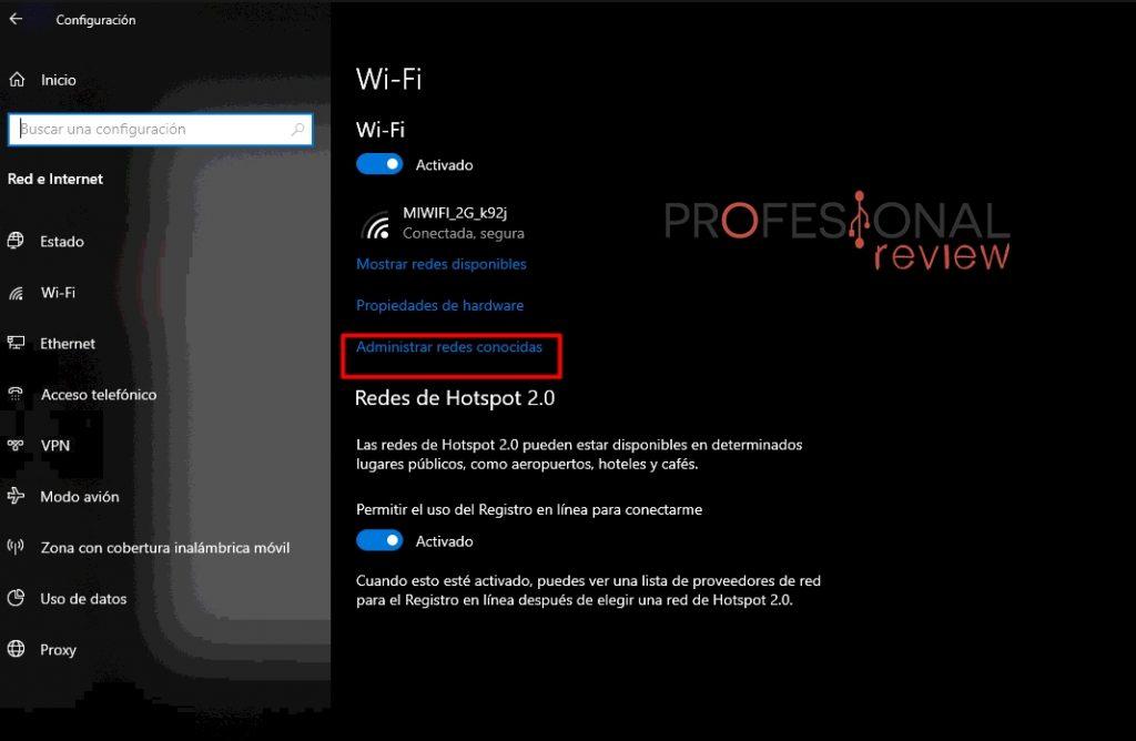 Wi-Fi Red conocidas eliminar