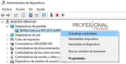 actualizar controlador gráfico parpadeo pantalla Windows 10