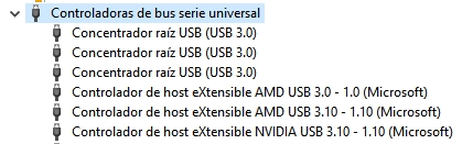 administrador de dispositivos puertos USB