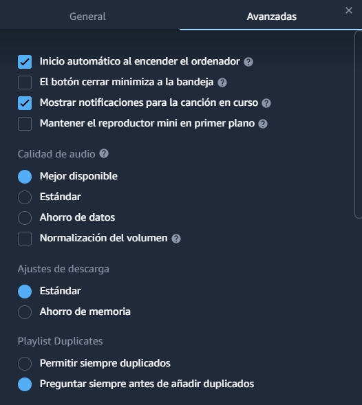 configuracion amazon music PC