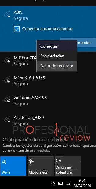 dejar de recordar red wi-fi
