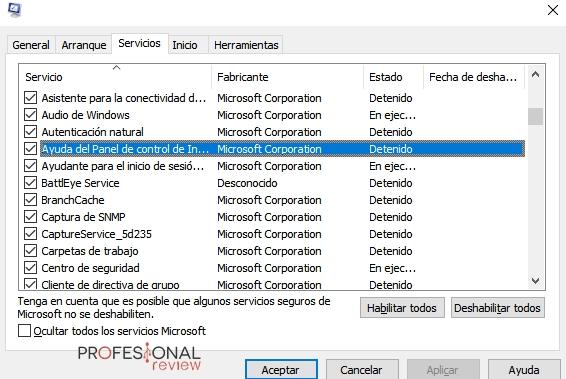 desactivar servicios Windows 10