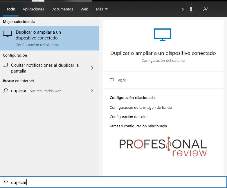 duplicar dispositivo conectado Windows 10
