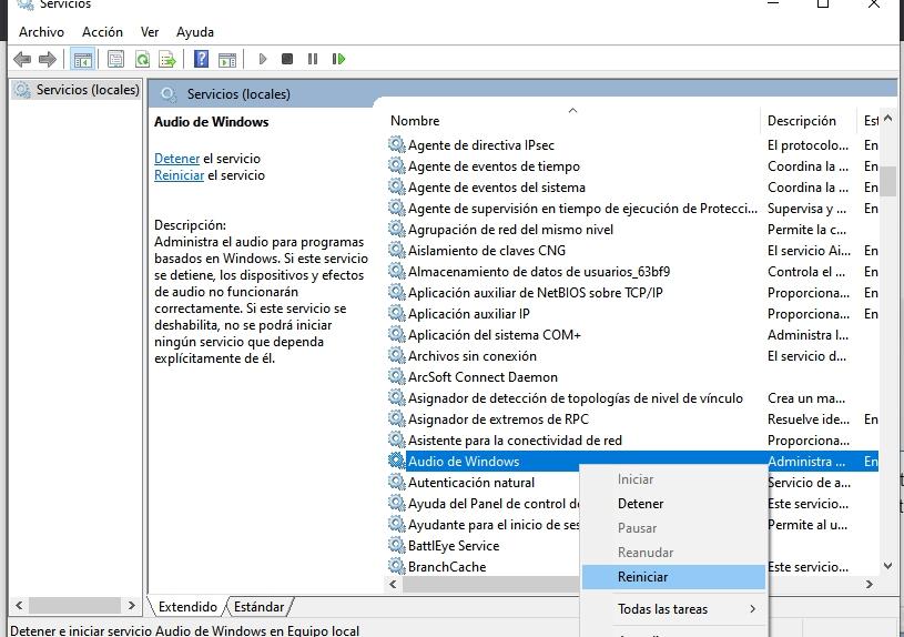 reiniciar Windows Audio
