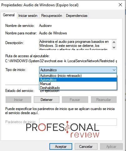 servicio automático Audio Windows