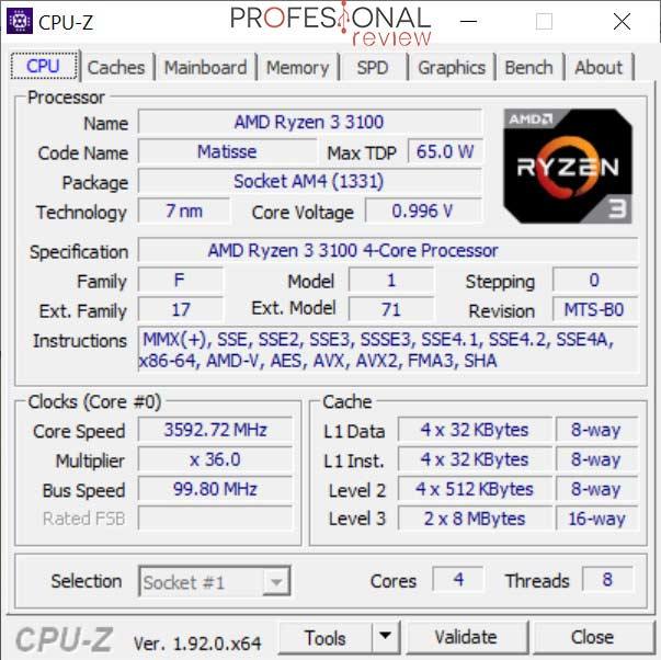 AMD Ryzen 3 3100 CPU-Z