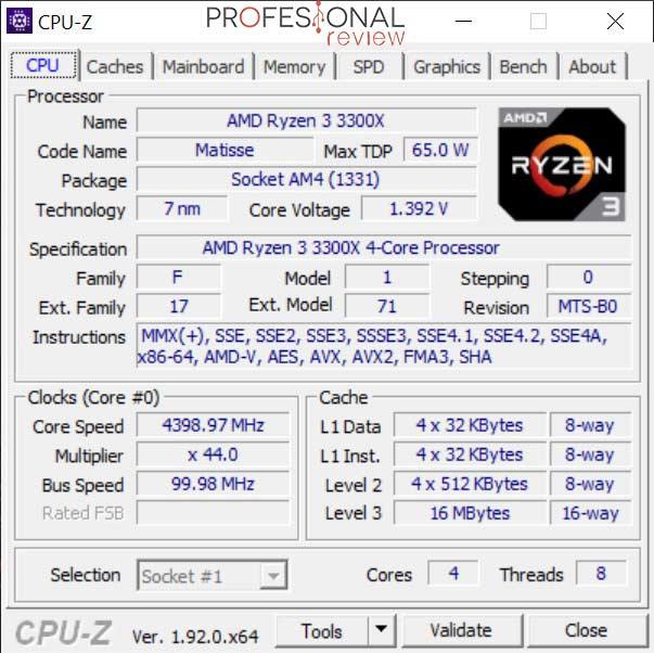 AMD Ryzen 3 3300X CPU-Z OC