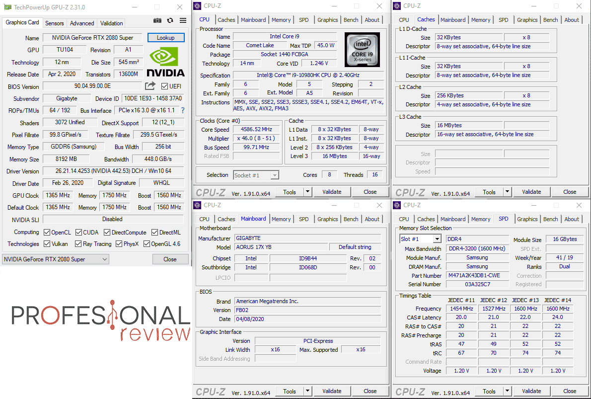 AORUS 17X YB CPU-Z