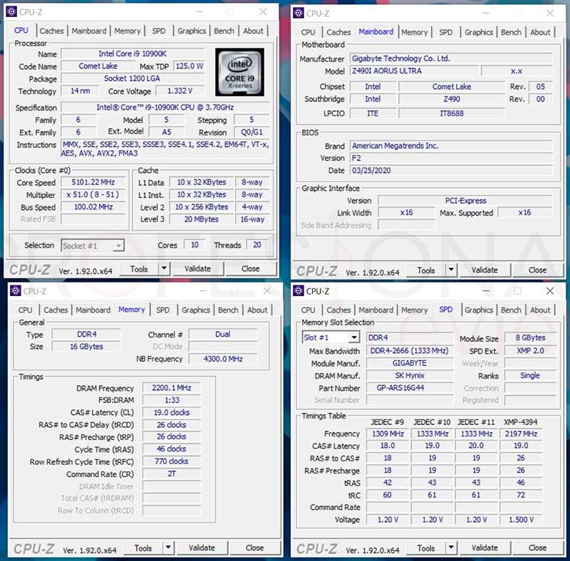 AORUS RGB Memory 4400 MHz CPU-Z