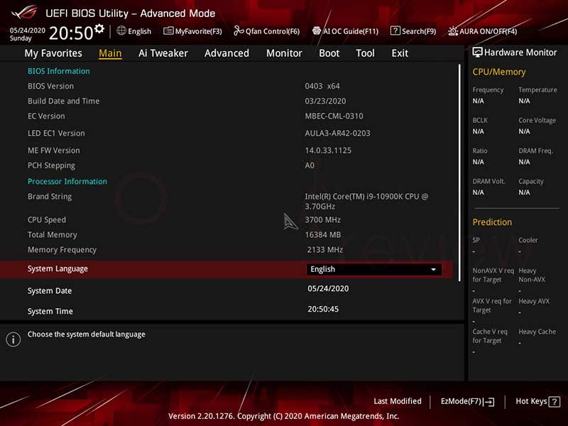 ASUS ROG STRIX Z490-I GAMING BIOS
