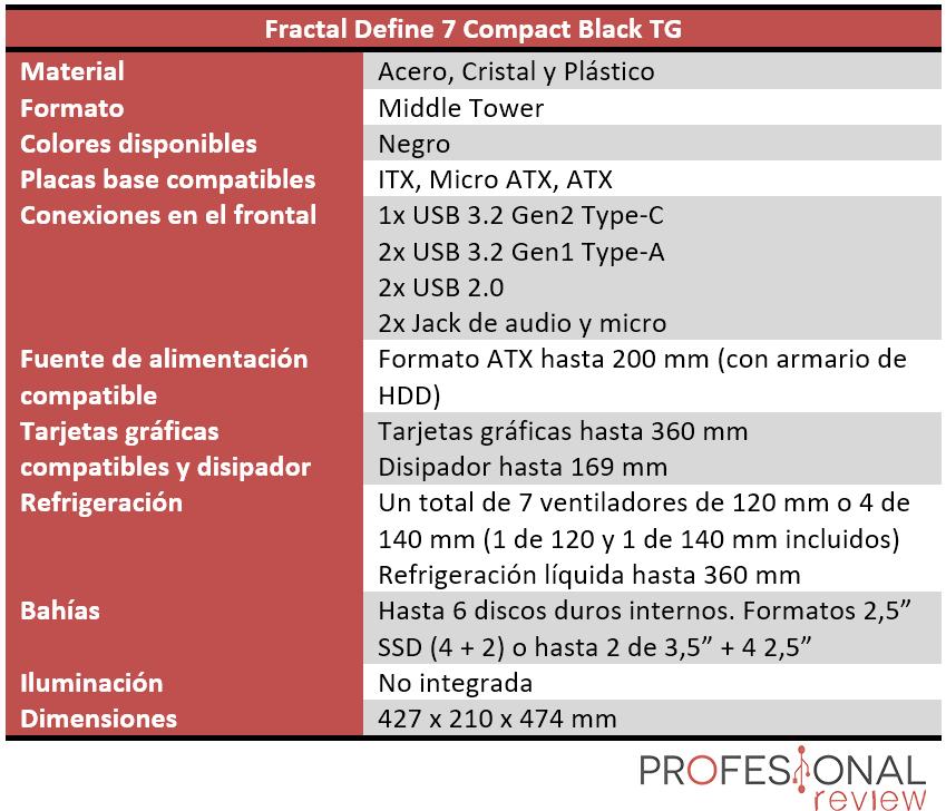 Fractal Define 7 Compact Black TG Características