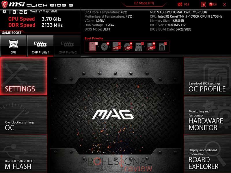 MSI MAG Z490 Tomahawk BIOS