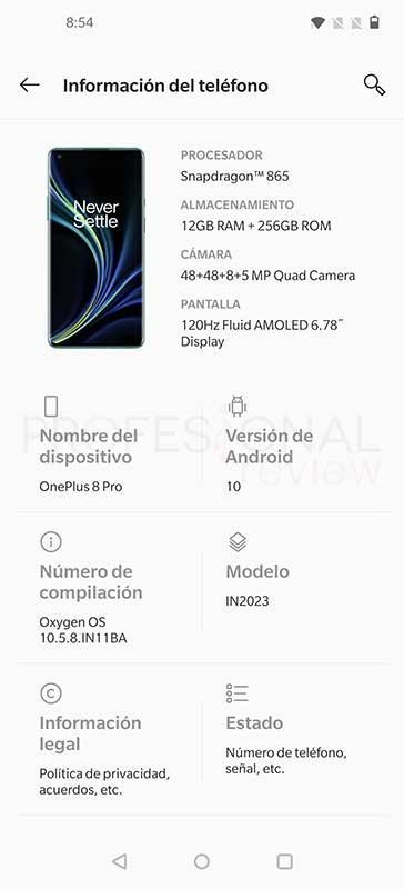 OnePlus 8 Pro Sistema