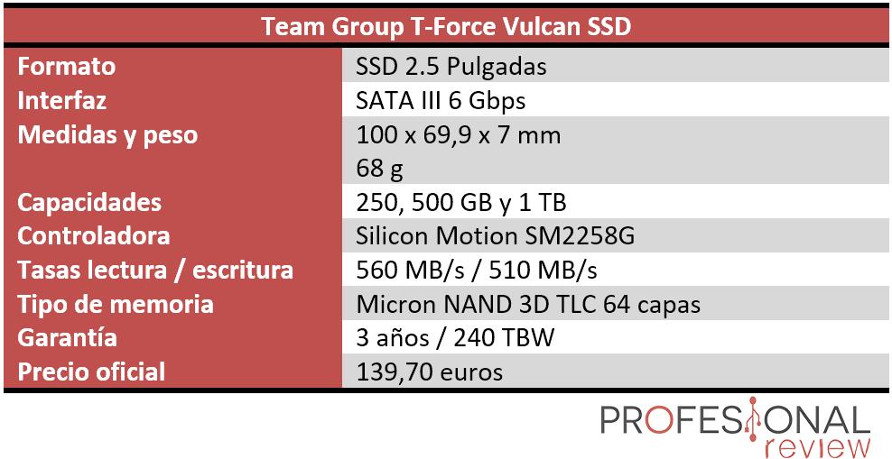 Team Group T-Force Vulcan SSD Características