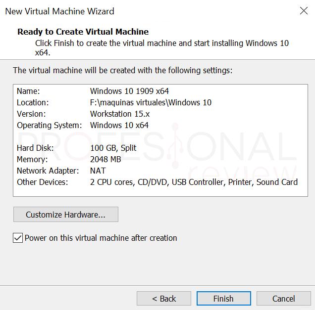 VMware máquina virtual paso12