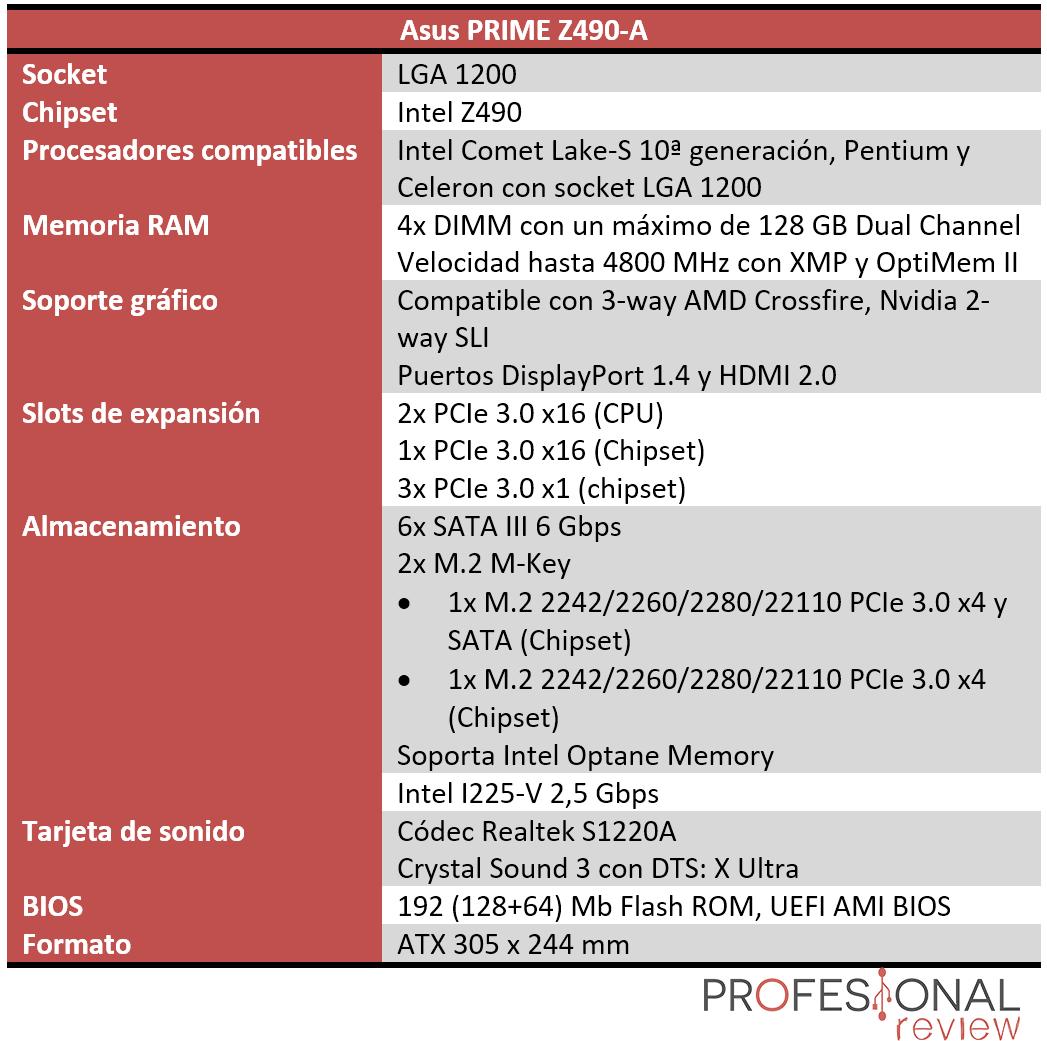 Asus PRIME Z490-A características