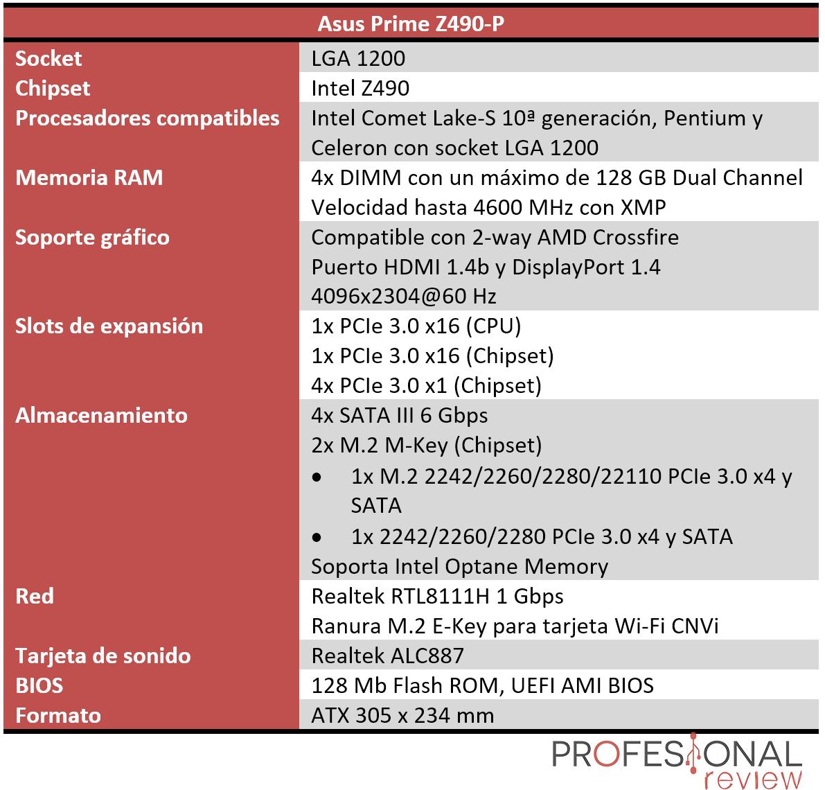 Asus Prime Z490-P Características