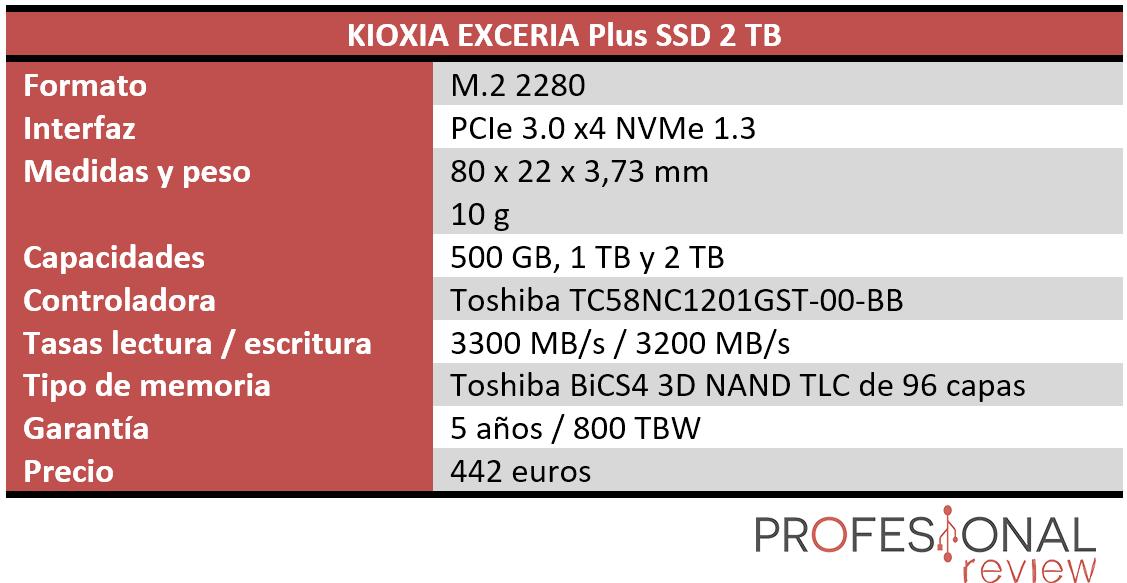 KIOXIA EXCERIA Plus SSD Características