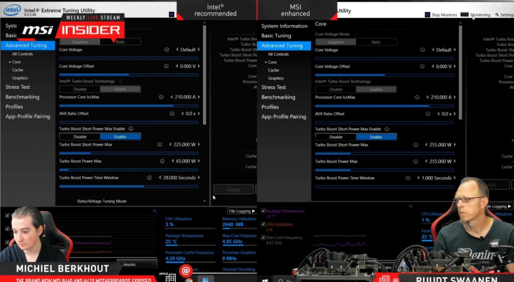 MSI B460 overclock Intel Comet Lake