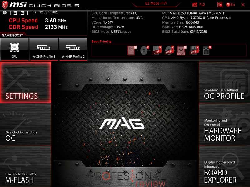 MSI MAG B550 TOMAHAWK BIOS