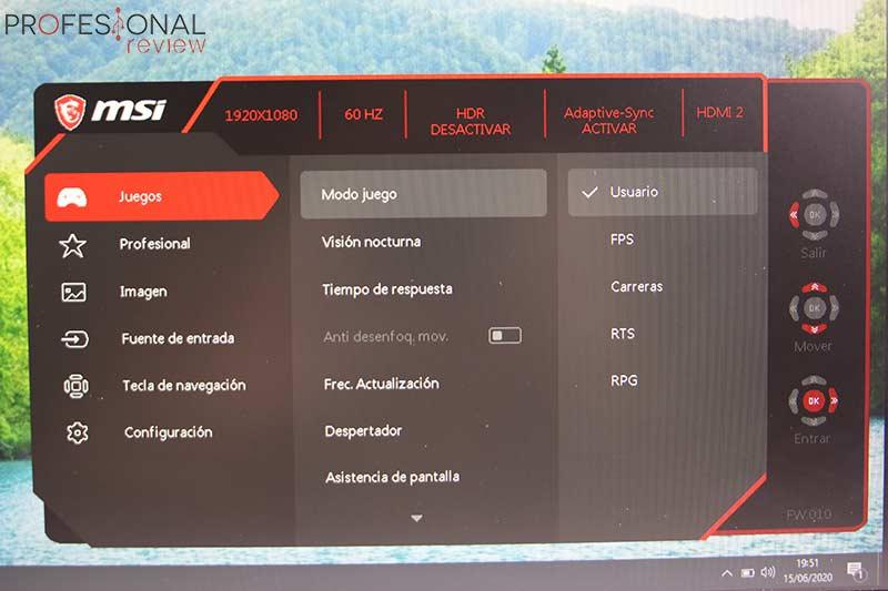 MSI Optix MAG251RX osd
