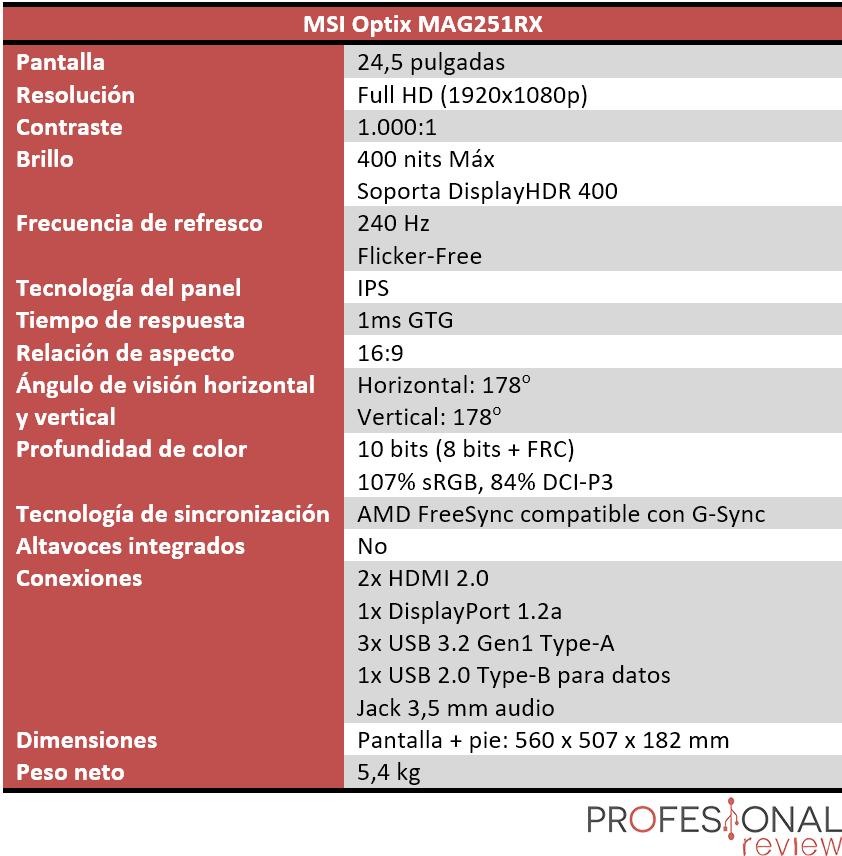 MSI Optix MAG251RX Características