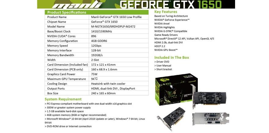 GTX 1650 Low Profile