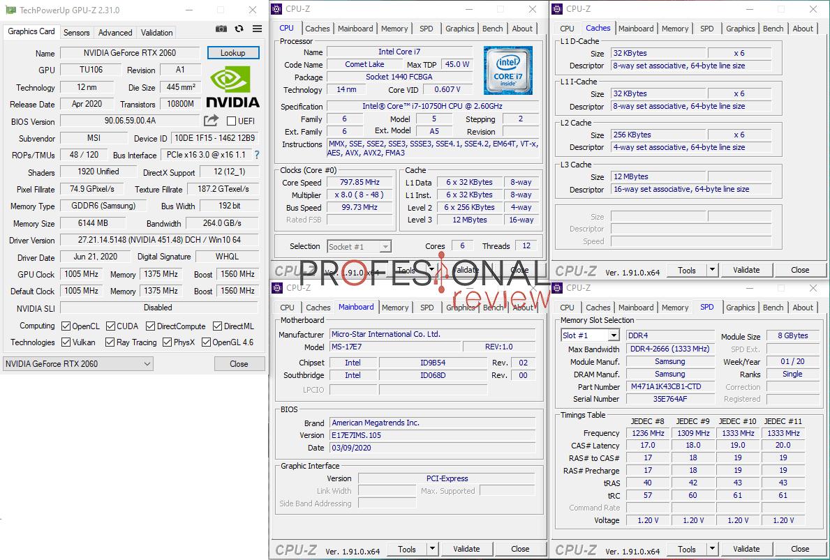 MSI GL75 Leopard 10SEK CPU-Z