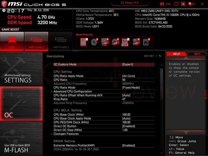 MSI MEG Z490 Unify BIOS