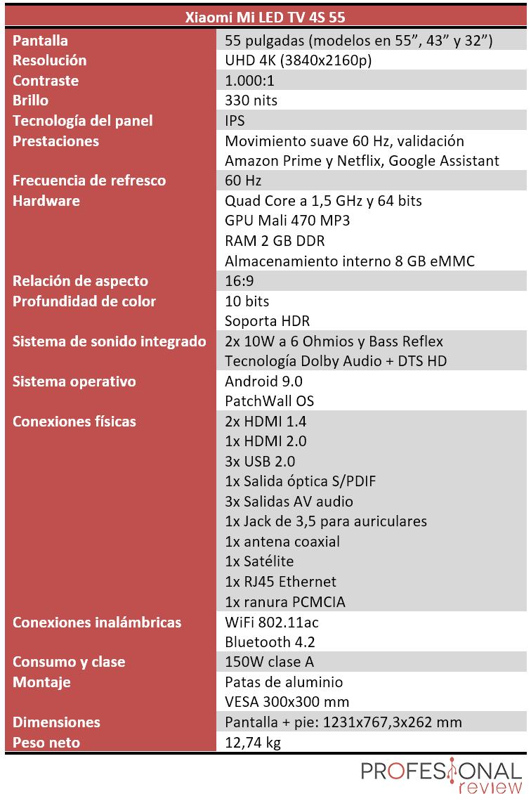 Xiaomi Mi LED TV 4S 55 Características