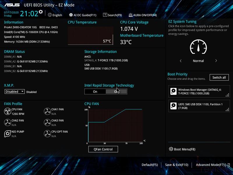 Asus ProArt Z490 Creator bios