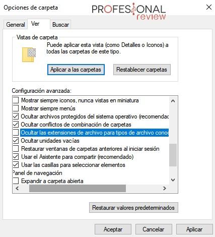 cómo ver extensiones archivos