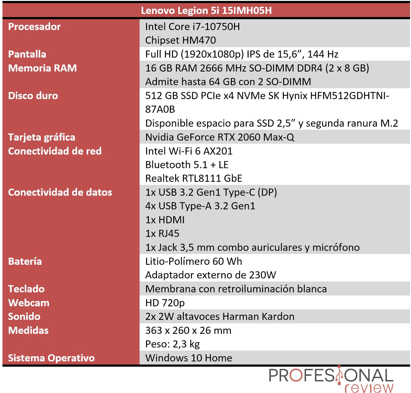 Lenovo Legion 5i Características