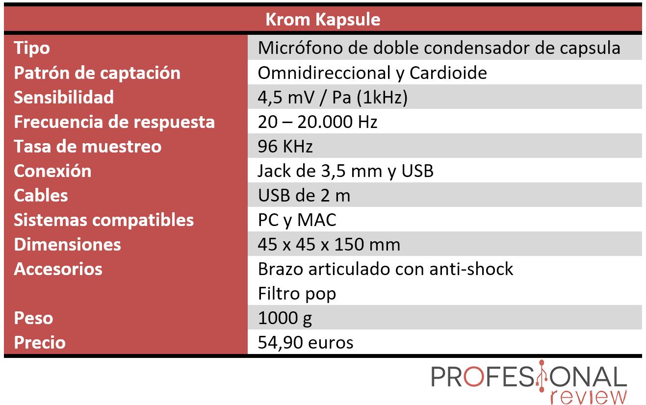 Krom Kapsule Características