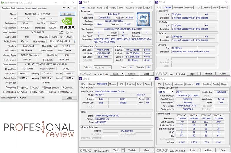 MSI Creator 15 A10SET CPU-Z