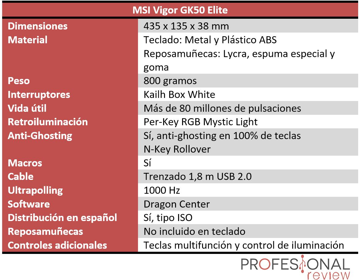 MSI Vigor GK50 Elite Características