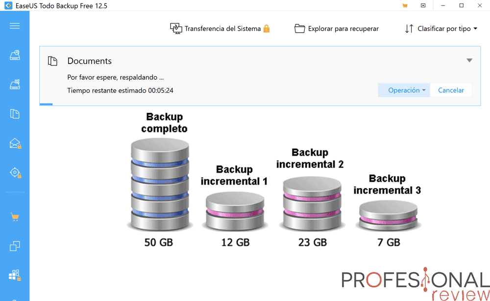 Configurar backup incremental