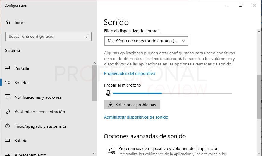 Probar micrófono en Windows 10 paso06