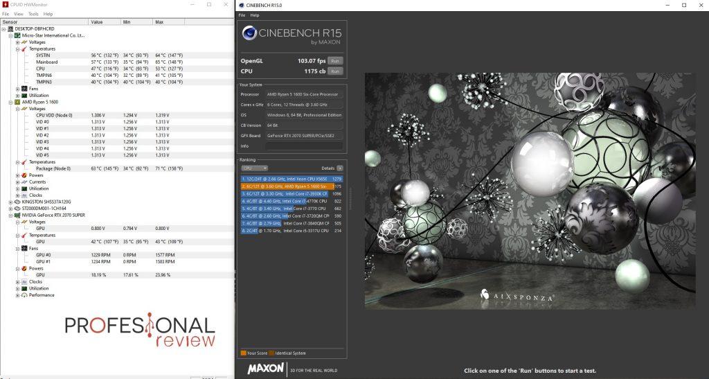 tapa abierta cerrada PC pruebas Cinebench R15