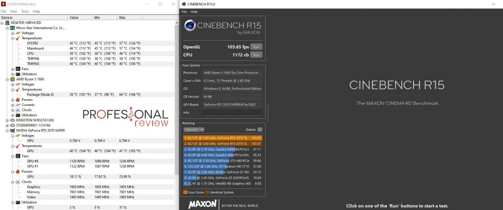 tapa cerrada PC pruebas Cinebench R15