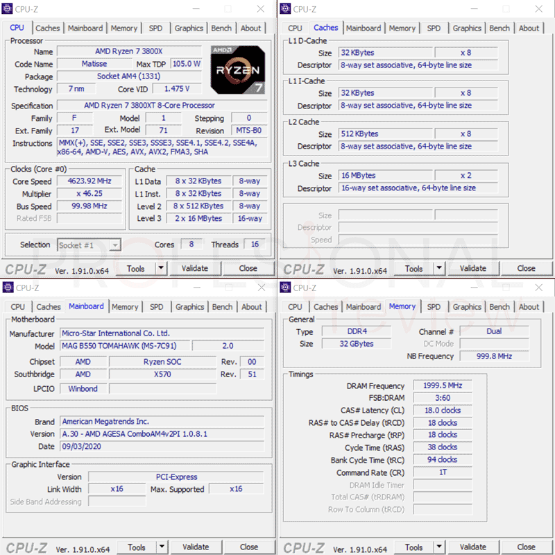 AMD Ryzen 7 3800XT ç CPU-Z