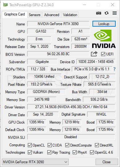 Gigabyte RTX 3090 EAGLE OC 24G GPU-Z