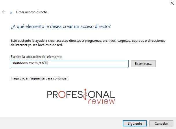 crear acceso directo apagar PC
