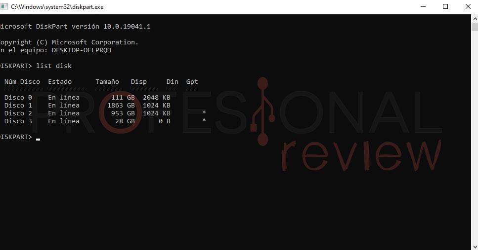 como formtear cmd diskpart list disk