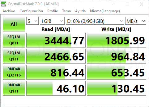 XPG Spectrix S40G 1 TB Benchmark